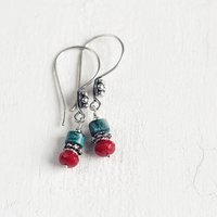 Chrysocolla And Coral Gemstone Earrings