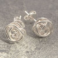 Nest Stud Sterling Silver Earrings, Silver
