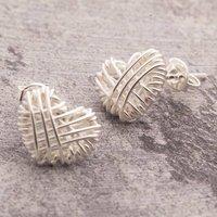 Silver Crocheted Heart Stud Earrings, Silver