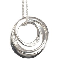 Personalised Three Silver Ring Necklace, Silver
