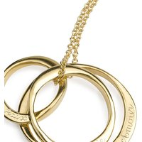 18ct Gold Vermeil Three Ring Necklace, Gold