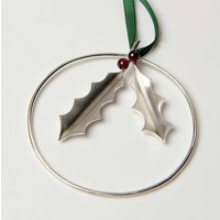 Sterling Silver Holly With Garnet Berries Decoration