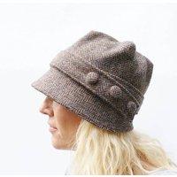 Harris Tweed Cloche Hat, Black/Grey/Green