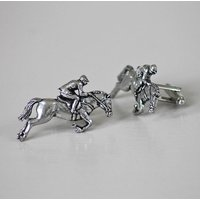 Pewter Horse And Jockey Cufflinks