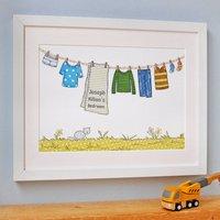 Personalised Children's Blue Washing Line Print