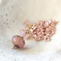 Rose Gold Necklace And Earring Set, Gold