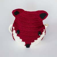 Handmade Crochet Fox Tea Cosy, Cream/Pastel Pink/Pink