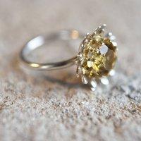 Gilded Silver Golden Citrine Daisy Ring, Silver