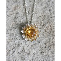 Gilded Silver Golden Citrine Daisy Necklace, Silver