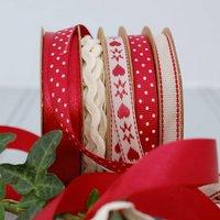 Set Of Five Rolls Of Christmas Ribbon