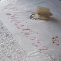 Personalised Embroidered Script Duvet Cover, Chocolate/Dark Green/Green