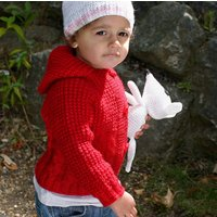 Long Sleeve Hooded Knitted Cardigan, Cream/Purple/Red