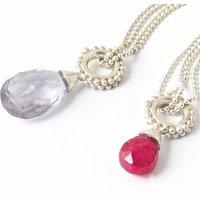 Beaded Ring Pendant With Precious Stone Drop