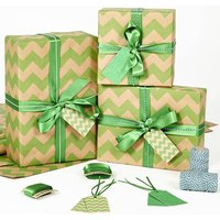Green Chevron Brown Christmas Wrapping Paper, Green