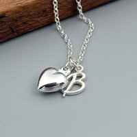 Heart And Initial Necklace In Sterling Silver, Silver