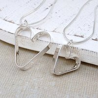 Personalised Silver Secret Heart Necklace Set, Silver