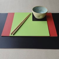 Set Of Four Square Leather Placemats, Black/Grey/Aqua