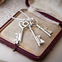 Personalised Silver Keys Necklace, Silver