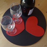 Set Of Two Leather Heart Coasters, Red/Cerise Pink/Cerise