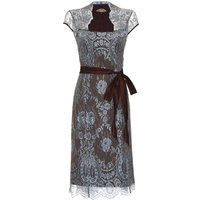 Lace Dress With Forties Neckline In In Winter Blue, Blue
