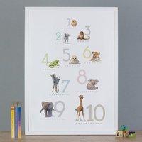 Illustrated Animals Number Print