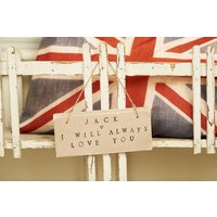 I Love You Sign Personalised, Cream/Grey