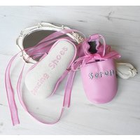 Personalised Babys First Dance Shoes, Baby Pink/Pink/White