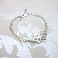 Silver Flora Triple Bud Bracelet, Silver