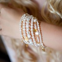 Amira Seven Row Pearl And Gold Bracelet, Gold