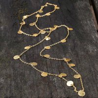 Hammered Gold Disc Long Layering Necklace, Gold