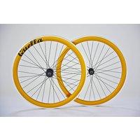 Deep V Fixed Gear Single Speed Wheelset, White/Gold/Orange