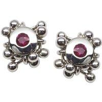 Silver Ruby Stud Earrings, Silver