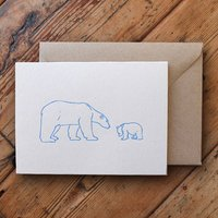 Polar Bear And Cub Letterpress Card