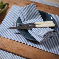 Blue Natural Striped Linen Napkin Jazz, Blue