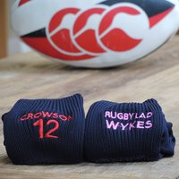 Personalised Rugby/Football Socks, Red/Blue/White