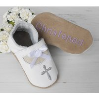 Personalised Mary Jane Christening Shoes, White/Cream/Light Pink