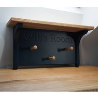 Peg Rail With Oak Shelf In Choice Of Colours