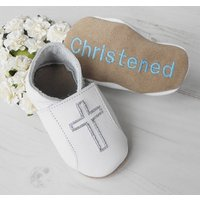 Personalised Christening Shoes With Cross, Light Blue/Blue/Black