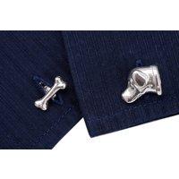 Labrador And Bone Cufflinks In Sterling Silver, Silver
