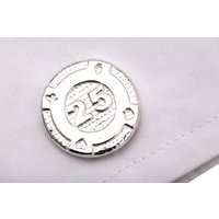 Gambling Chip Cufflinks In Silver, Silver