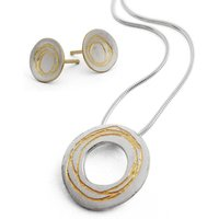 Etched Patterend Necklace And Earring Set