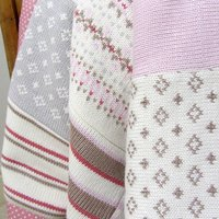 Pink Fairisle Knitted Baby Blanket, Pink/Blue