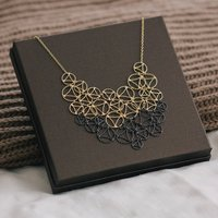 Gold And Black Lace Two Tone Necklace, Gold