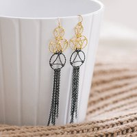 Gold And Black Lace Two Tone Drop Earrings, Gold