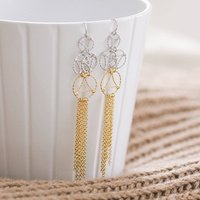 Gold And Silver Lace Two Tone Drop Earrings, Silver