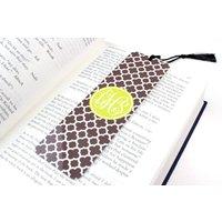 Personalised Clover Metal Bookmark, Black/White/Blush