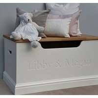 Girls Toy Box Or Storage Chest, Lime/White/Grey