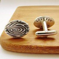 Silver Woodgrain Secret Message Cufflinks, Silver