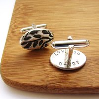 Silver Leaves Secret Message Cufflinks, Silver