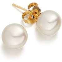 White Pearl Gold Studs, Gold